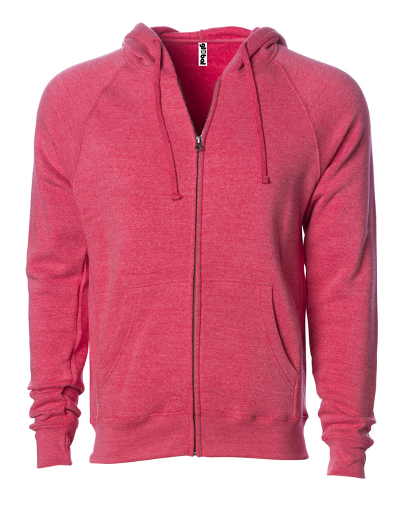 Front of a pomegranate pink fleece zip-up hoodie with front pockets and a drawstring.