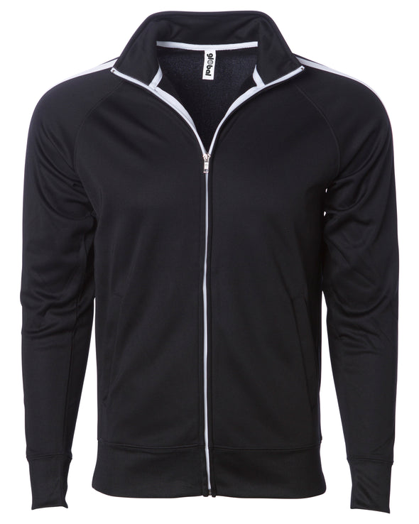 Front of a black zip-up track jacket with two vertical white stripes along the sleeves and an open collar.