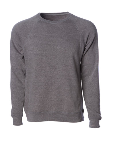 Front of a light gray fleece long sleeve crew neck sweater.