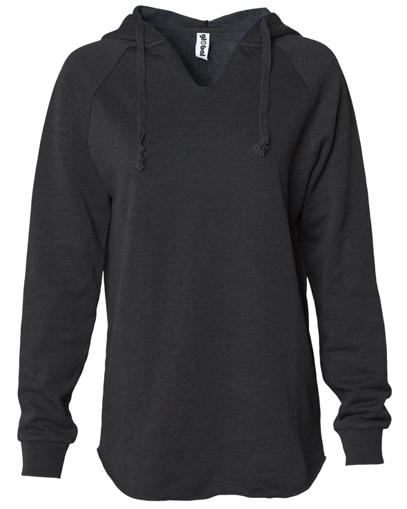 Front of a long sleeve black pullover hoodie.