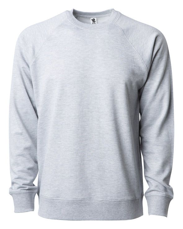 Front of a light gray french terry long sleeve crew neck sweater.