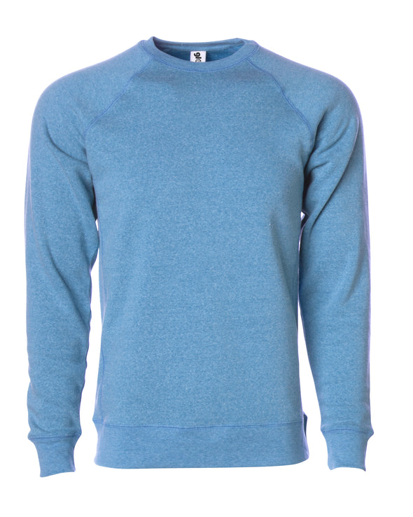 Front of a sky blue fleece long sleeve crew neck sweater.
