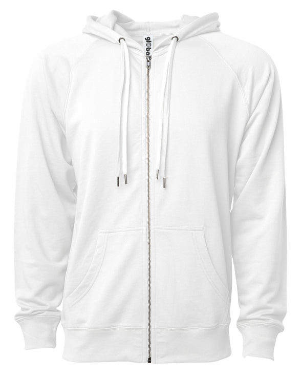 Front of a white french terry zip-up hoodie with a kangaroo pocket and two drawstrings.