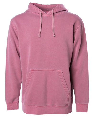 Front of a pastel maroon pullover hoodie with a kangaroo pocket.