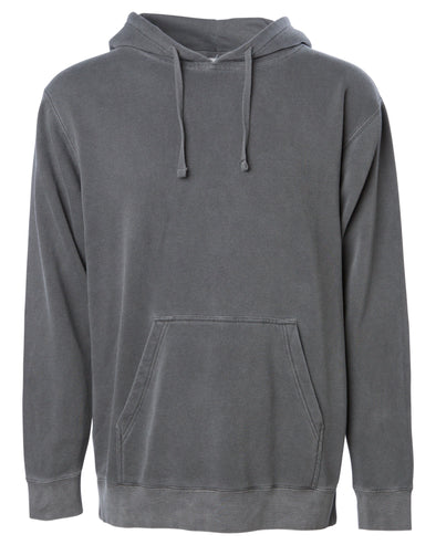 Front of a gray pullover hoodie with a kangaroo pocket.
