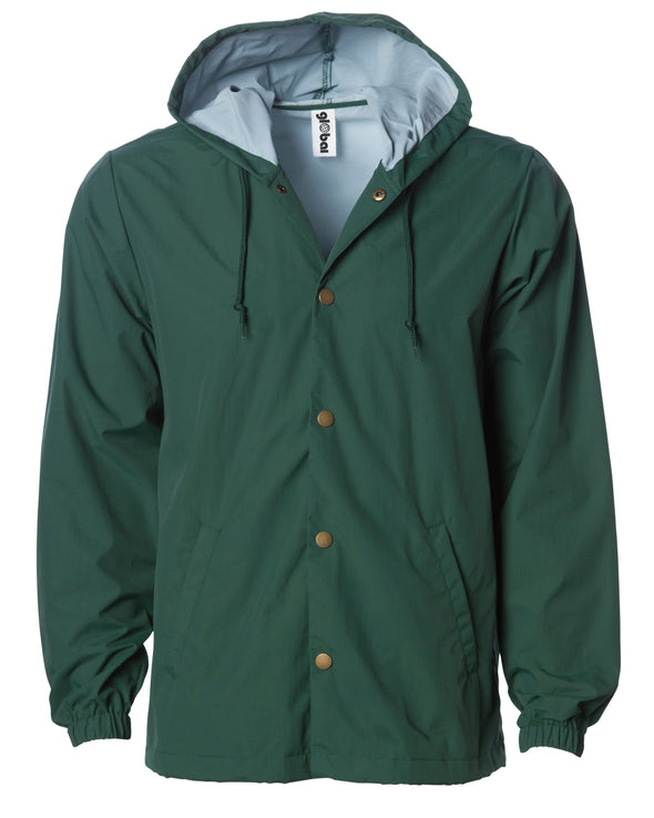 Front of a green nylon coach's jacket with gold buttons and a hood.