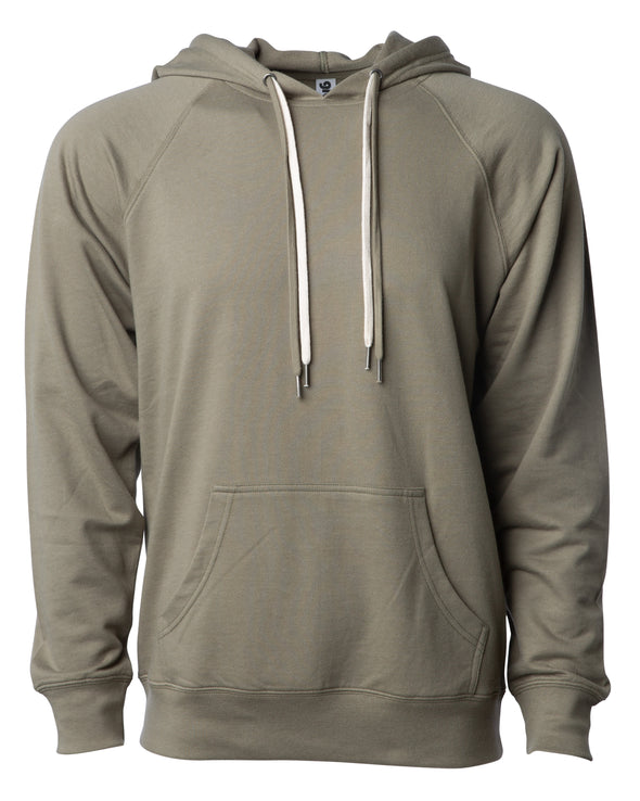 Front of an olive green french terry pullover hoodie with a kangaroo pocket and two drawstrings.