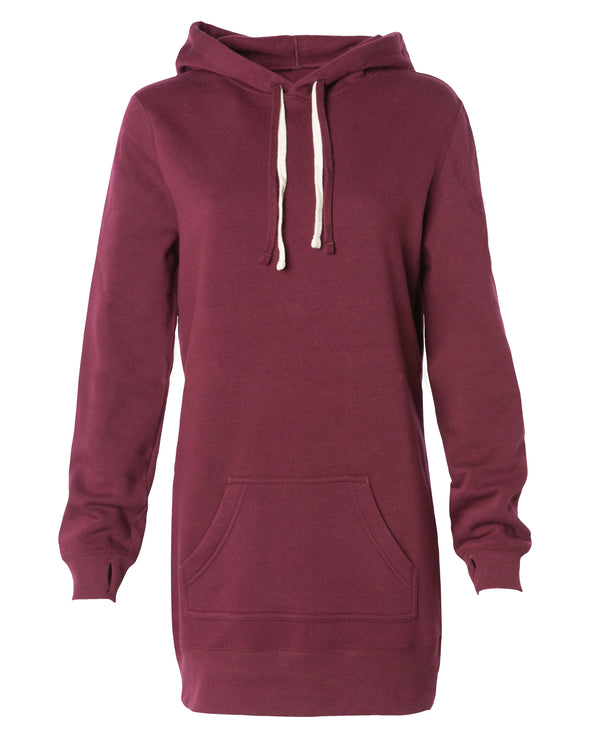 Front of a burgundy long-sleeve sweater dress with a kangaroo pocket and hood.