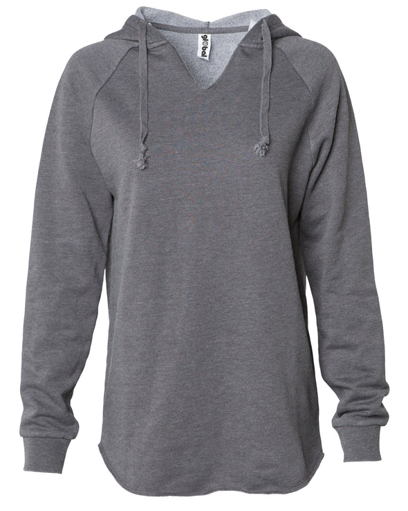 Front of a long sleeve gray pullover hoodie.