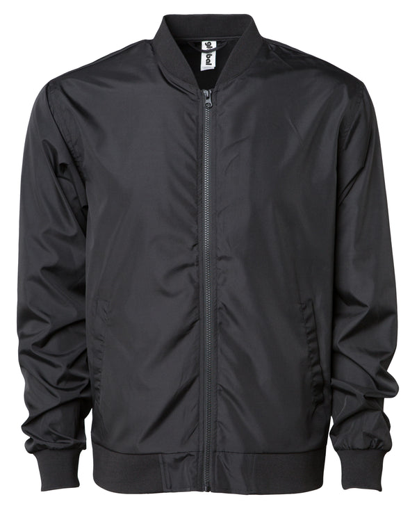 Front of a black zip-up bomber jacket with front pockets and elastic cuffs.