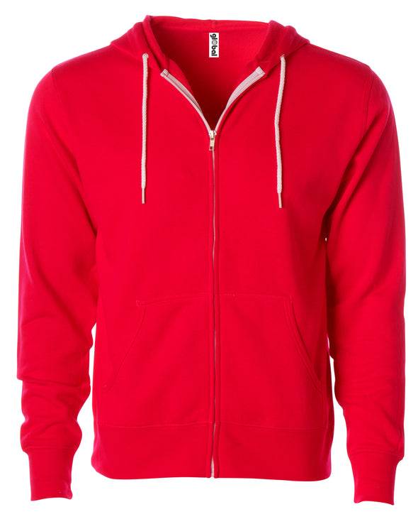 Front of a red zip-up fleece hoodie with front pockets and a white drawstring.