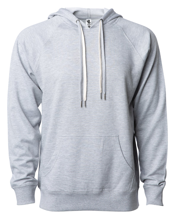 Front of a light gray french terry pullover hoodie with a kangaroo pocket and two drawstrings.