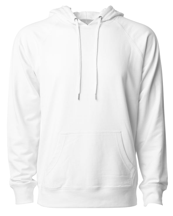Front of a white french terry pullover hoodie with a kangaroo pocket and two drawstrings.