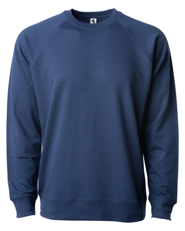 Front of a navy blue french terry long sleeve crew neck sweater.