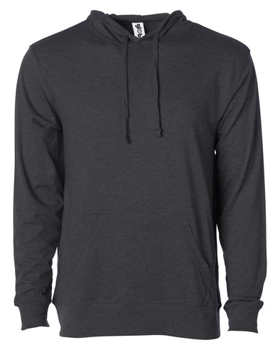 Front of a charcoal gray long sleeve t-shirt jersey hoodie with a matching drawstring and kangaroo pocket.