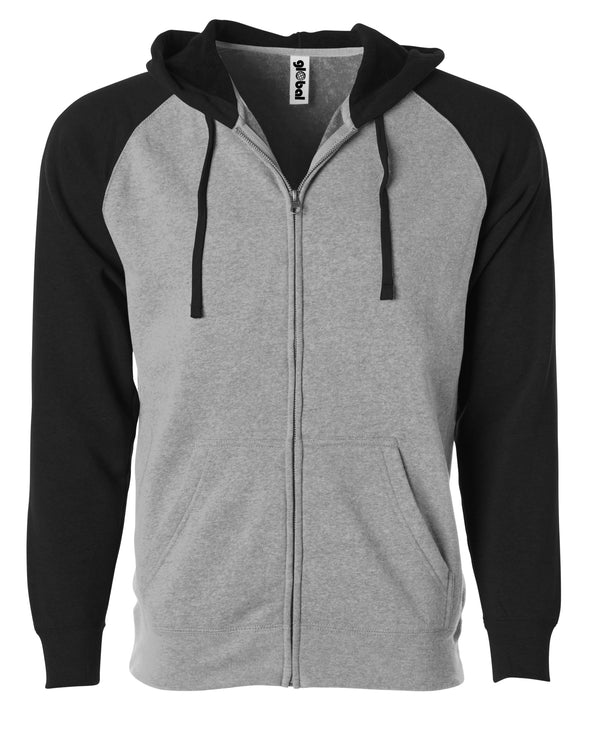 Front of a light gray fleece zip-up hoodie with black sleeves and hood.