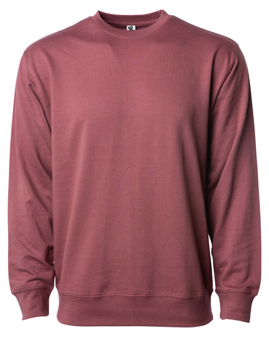 Front of a port red french terry long sleeve crew neck sweater.