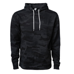 Front of a black camouflage pullover fleece hoodie with a kangaroo pocket and white drawstrings.
