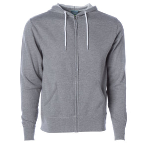 Front of a light gray zip-up fleece hoodie with front pockets and a white drawstring.