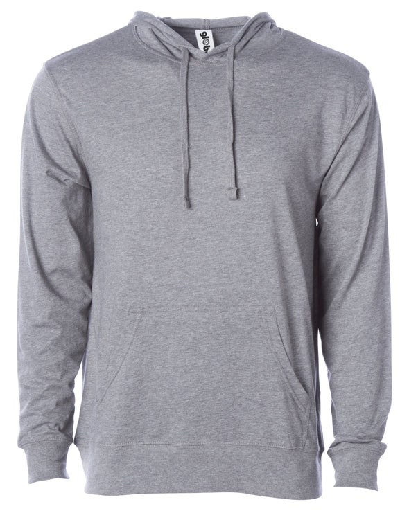 Front of a light gray long sleeve t-shirt jersey hoodie with a matching drawstring and kangaroo pocket.