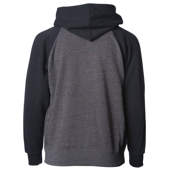 Back of a gray children's zip-up hoodie with black sleeves and hood.