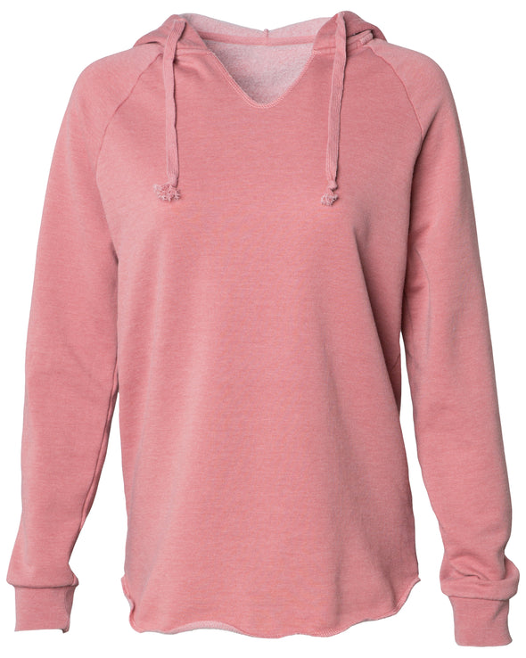 Front of a long sleeve pastel pink pullover hoodie.