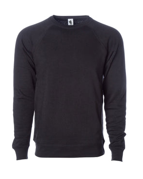 Front of a black fleece long sleeve crew neck sweater.