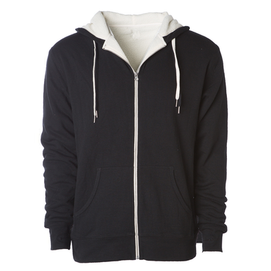 Front of a black zip up sherpa lined hoodie with two drawstrings.