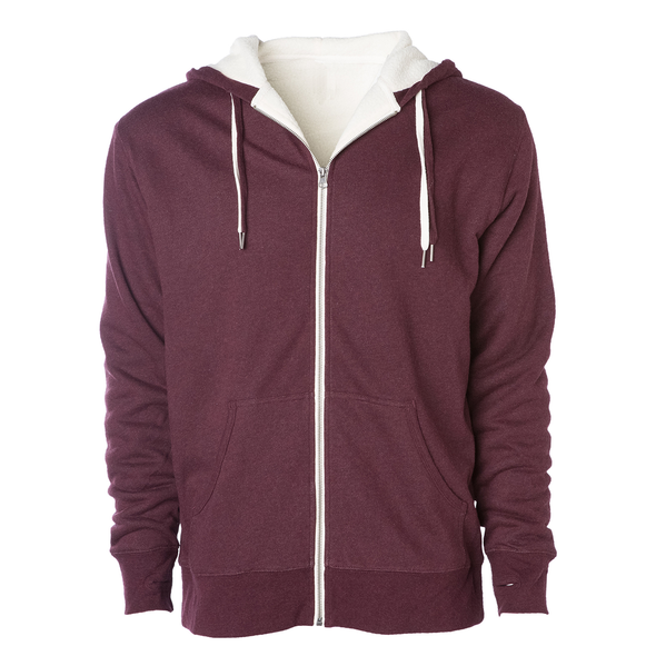 Front of a burgundy zip up sherpa lined hoodie with two drawstrings.