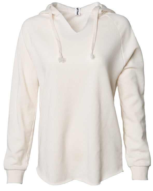 Front of a long sleeve off-white pullover hoodie.