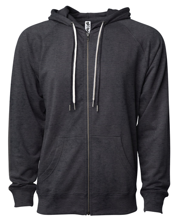 Front of a charcoal gray french terry zip-up hoodie with a kangaroo pocket and two drawstrings.