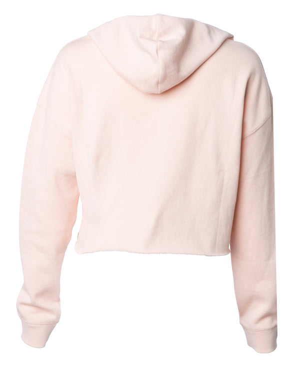 Back of a pink long sleeve crop top hoodie.