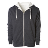 Front of a charcoal gray zip up sherpa lined hoodie with two drawstrings.