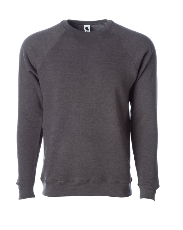 Front of a gray fleece long sleeve crew neck sweater.