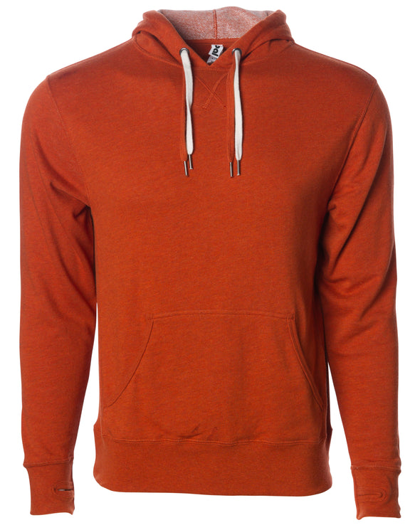 Front of burnt orange french terry pullover hoodie with a kangaroo pocket, two drawstrings, and thumbholes.