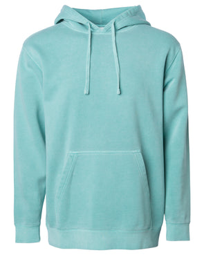 Front of a pastel mint pullover hoodie with a kangaroo pocket.
