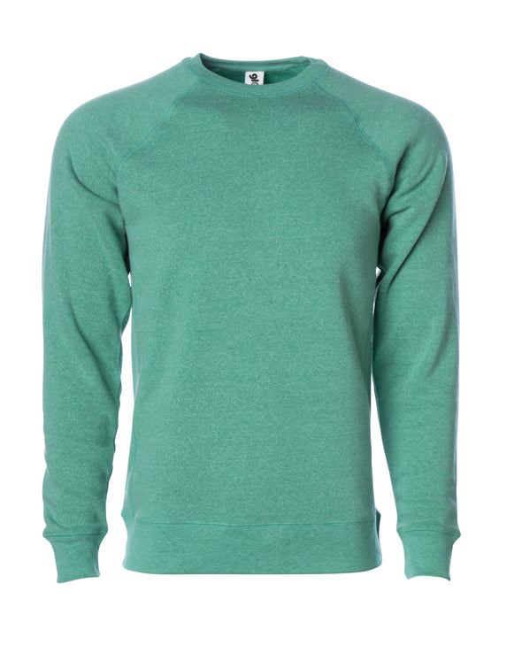 Front of a sea green fleece long sleeve crew neck sweater.
