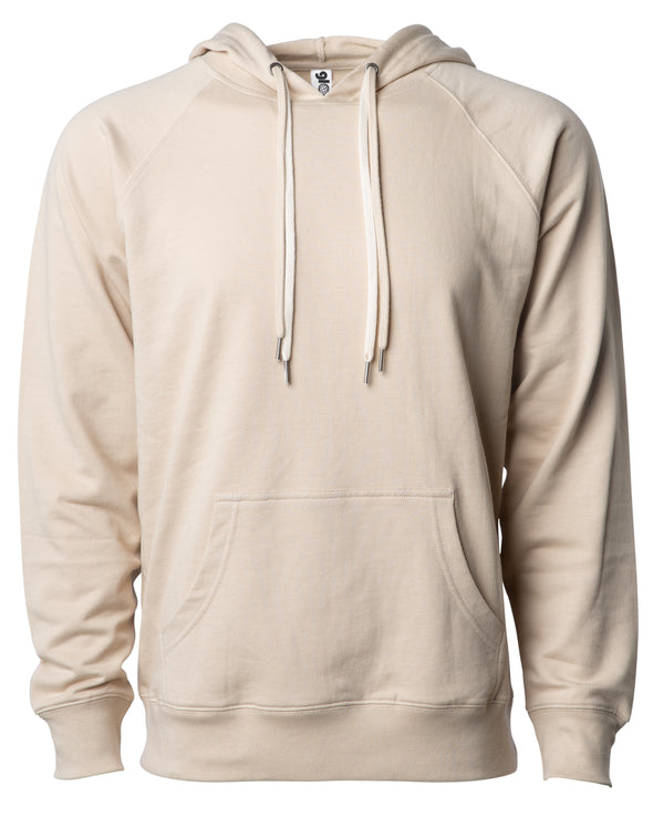 Front of a beige french terry pullover hoodie with a kangaroo pocket and two drawstrings.