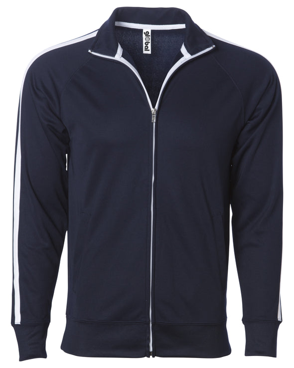 Front of a navy zip-up track jacket with two vertical white stripes along the sleeves and an open collar.