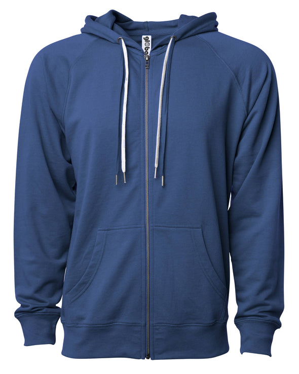 Front of a navy french terry zip-up hoodie with a kangaroo pocket and two drawstrings.