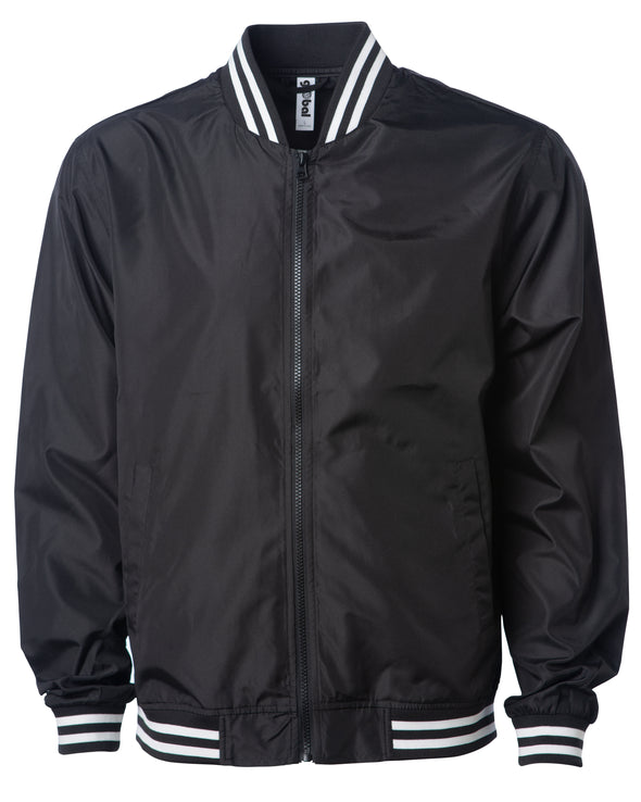 Front of a black zip-up bomber jacket with front pockets and striped elastic cuffs.