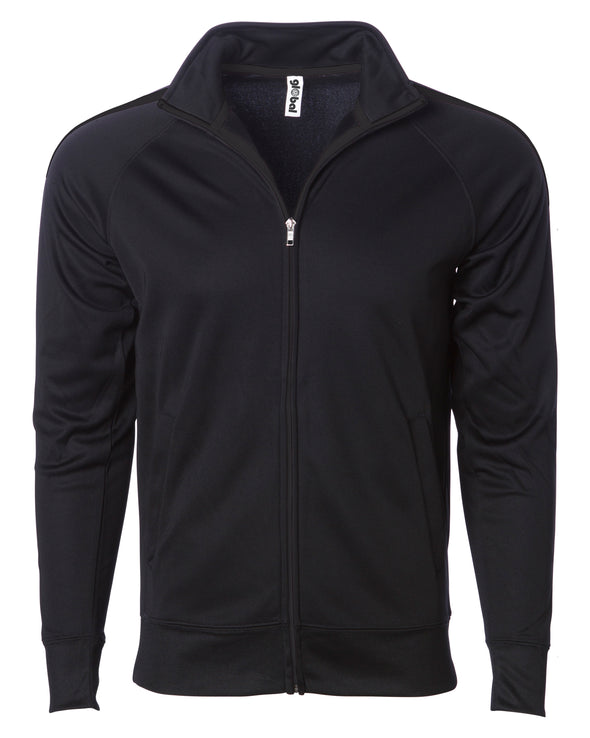 Front of a solid black zip-up track jacket and an open collar.