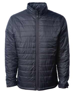 Front of a black zip-up puffer jacket.