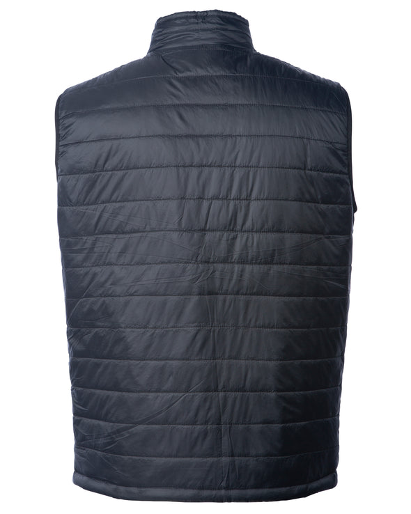 Back of a black puffer vest.