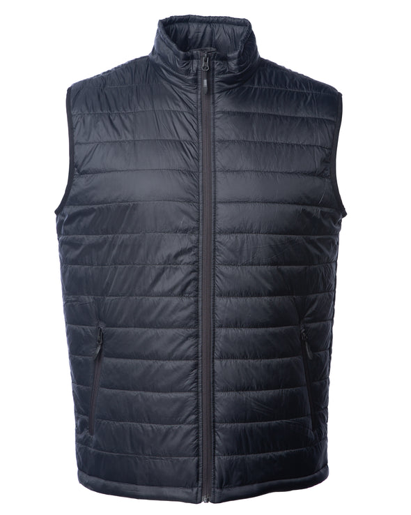 Front of a black puffer vest with two zipper pockets.