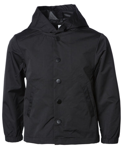 Front of a children's black button-up rain jacket with a hood and black buttons.