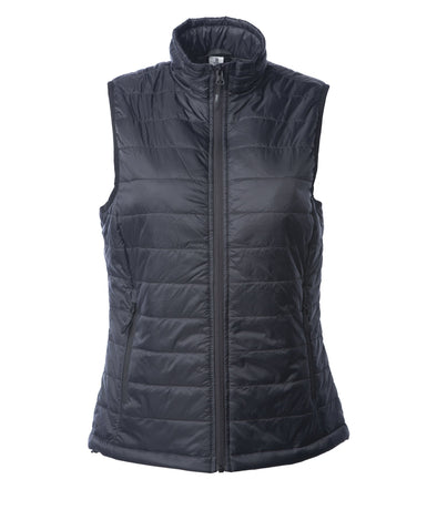 Front of a woman's black puffer vest.