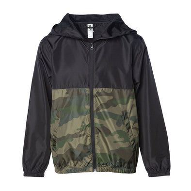 Front of a children's zip-up windbreaker hoodie with two pockets. The windbreaker's top-half is black and bottom-half is green camouflage.