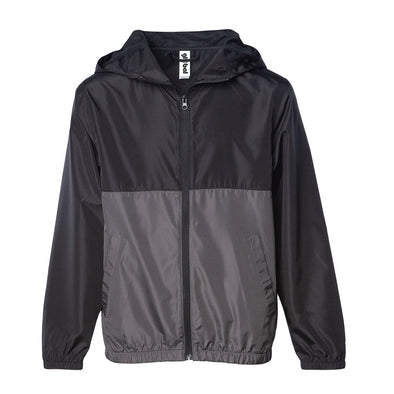 Front of a children's zip-up windbreaker hoodie with two pockets. The windbreaker's top-half is black and bottom-half is gray.