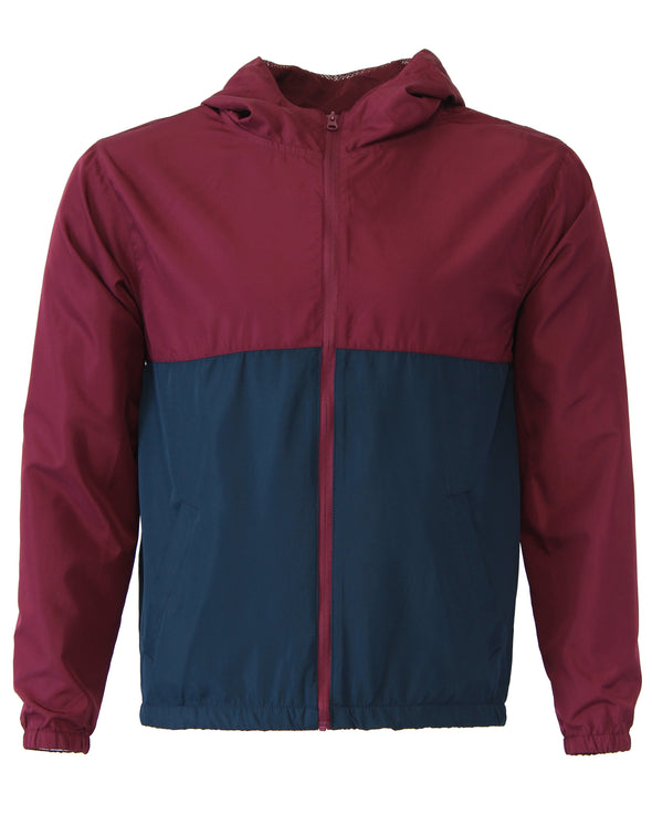 Front of a children's zip-up windbreaker hoodie with two pockets. The windbreaker's top-half is maroon and bottom-half is navy.